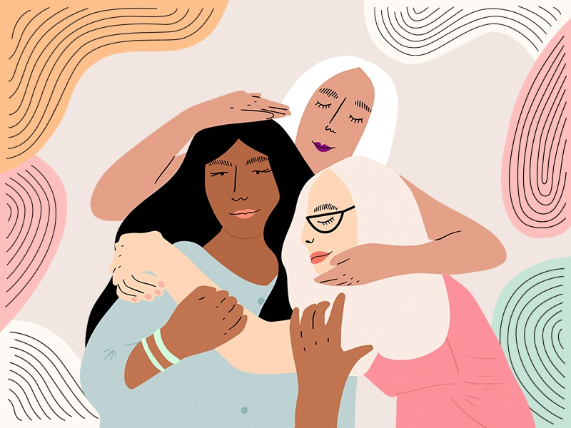 Sisters vector design character pattern hugging women girls editorial illustration
