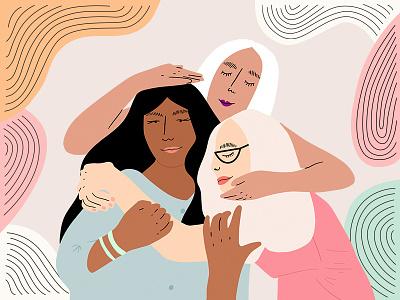 Sisters vector design character pattern hugging women girls editorial illustration