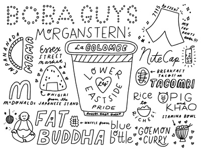 My love letter to the Lower East Side hand lettering hand drawn new york food onigiri mcdonalds sketchbook sketch lettering boba buddha coffee nyc manhattan lower east side illustration