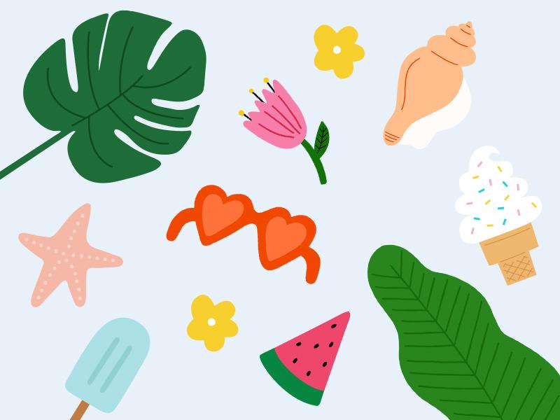 Girls' Night In: Summer of Self-Care Illos summer starfish monstera plant watermelon sunglasses popsicle ice cream seashell flower illustration