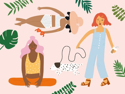 Girls' Night In: Self-Care + Outdoorsy hand drawn outdoors self-care summer tropical women plants character girls people illustration