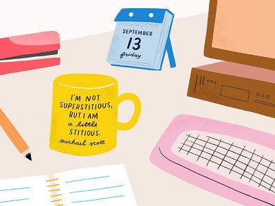Little Stitious mug calendar illustration friday the 13th desk the office michael scott