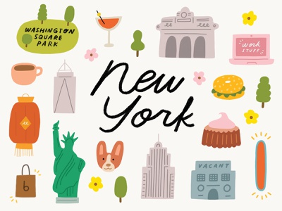 New York City park map city empire state chinatown statue of liberty new york hand lettering illustration