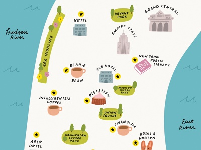 New York City Map new york map city hand lettering illustration