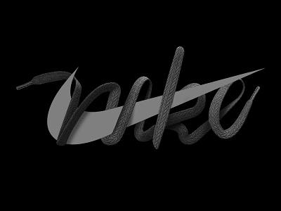 Nike logo design 3d typography cinema 4d shoelace nike