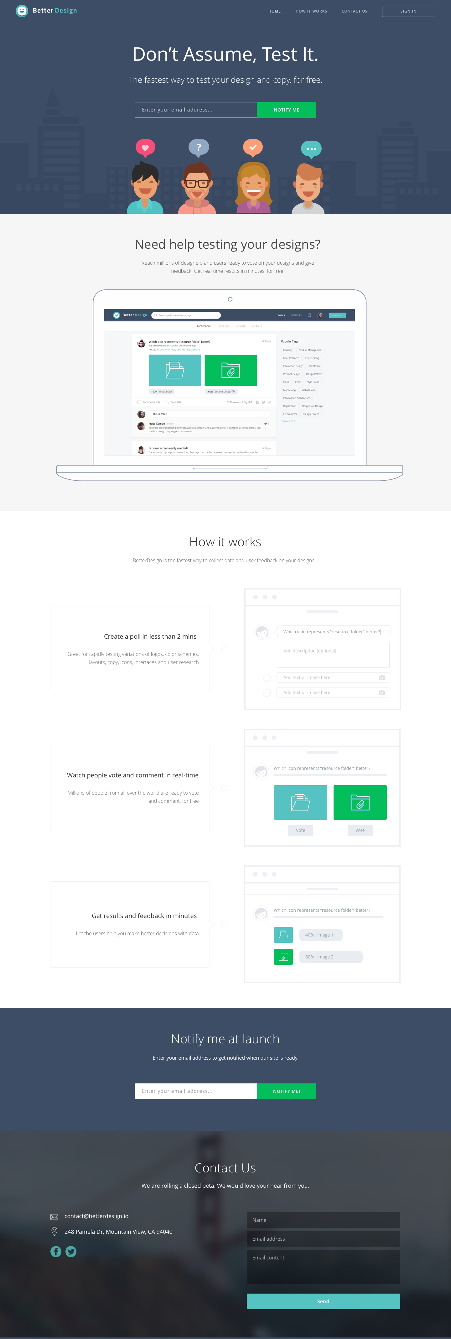 Betterdesign landing page