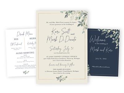Scott Wedding Suite catholic navy floral invite print suite wedding