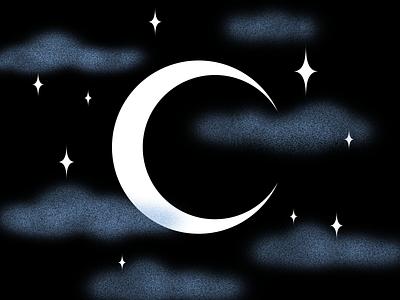 C starry sky illustration 36daysoftype nightsky night crescent moon moon