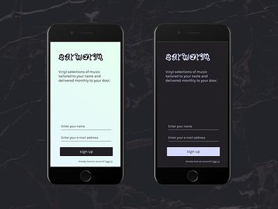 earworm signup mobile music app dark dailyui ui
