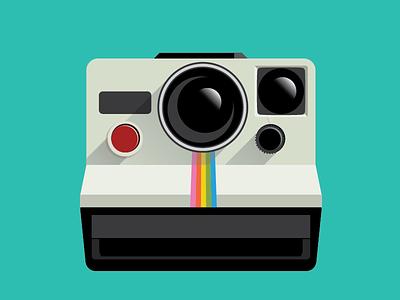 Polaroid camera 70s retro drawing digital vector camera polaroid
