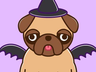 Halloween Greetings dog pug vector illustration halloween