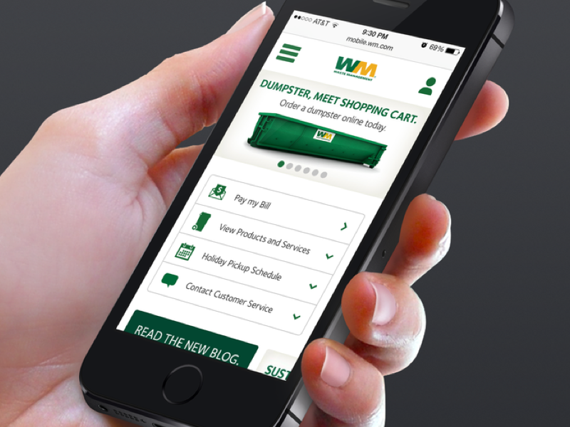 Waste Management Homepage e-commerce minimal clean icons visual design mobile