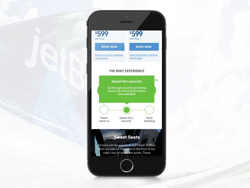 Jetblue - The Mint Experience product mobile booking visual ux travel mint jetblue airlines