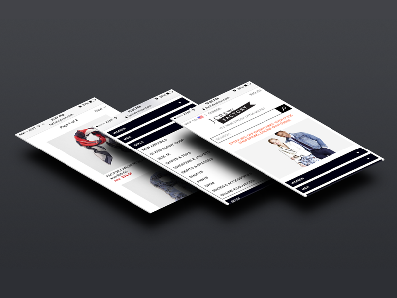 J.Crew Factory visual design mobile retail product pdp shop ecommerce