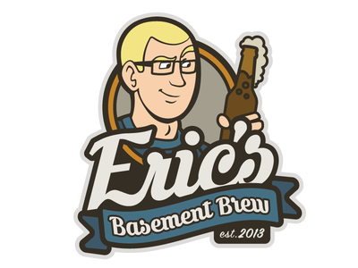 Eric's Basement Brew vector illustration design branding logo