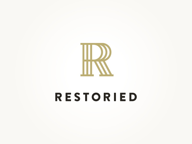 Restoried Logo furniture r mark typography logo