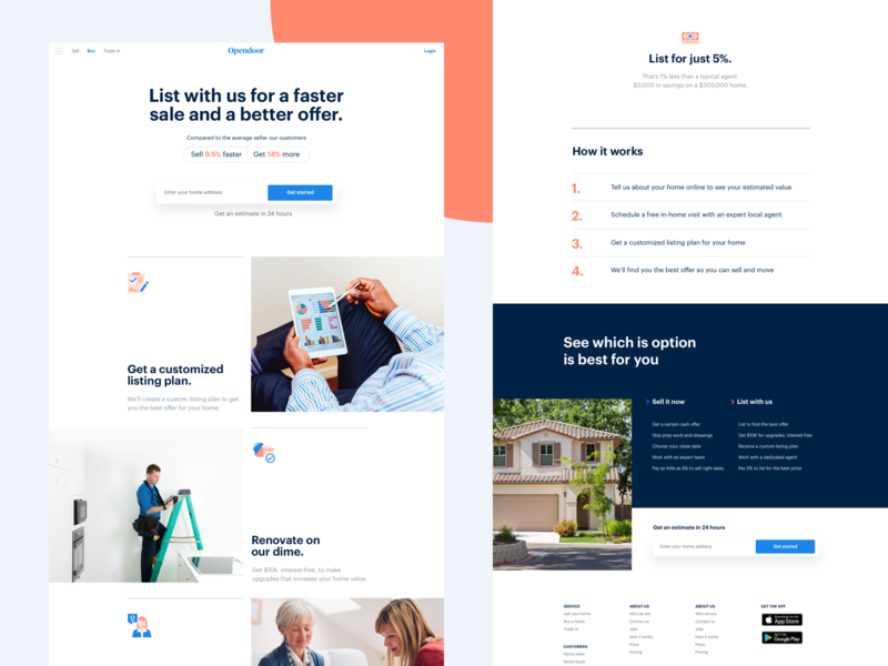 Extra light layout conversion product real estate landing home brand design web ui layout