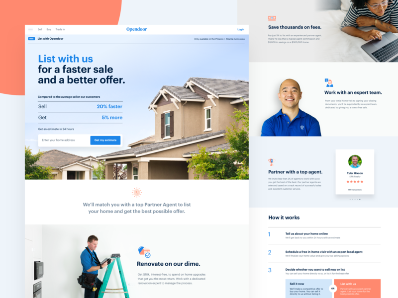 Listing product landing page opendoor real estate landing brand listing house home web ui layout