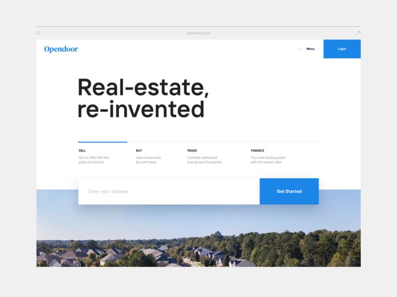 Homepage concept interface neumorphic ui branding real estate home landing opendoor brand web layout