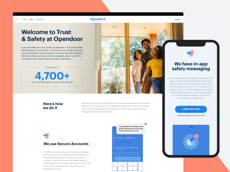 Trust and Safety responsive landing product features page terms layout web