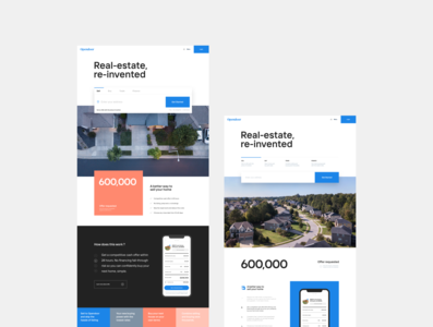 Homepage concepts minimalist design house housing real estate opendoor brand web ui layout