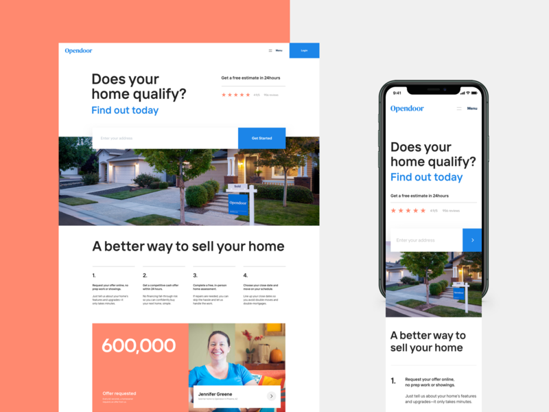 Simplified homepage process social proof housing house real estate brand layout hero marketing home