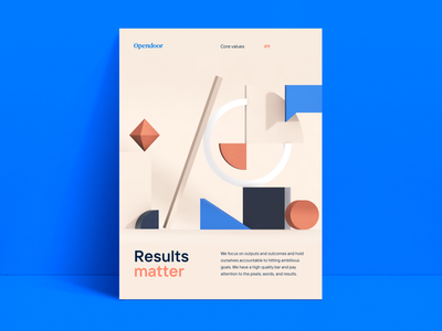 Core value poster (2020 update) opendoor brand poster design shapes geometric vectary 3d poster
