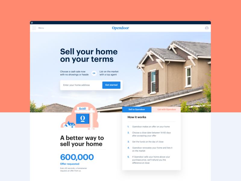 Homepage hero composition real estate landing branding landing page website web layout