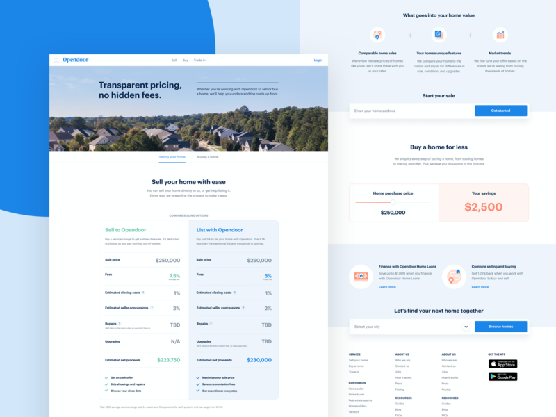 Pricing page update price table comparison table real estate opendoor landing sliders brand ui layout web design web