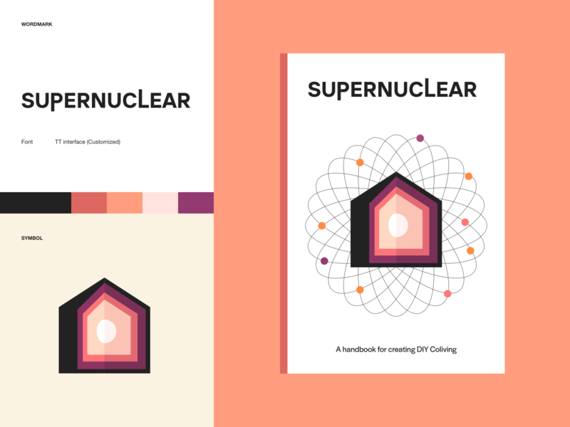 Supernuclear social science living housing coliving nucleus atom editorial book identity cover