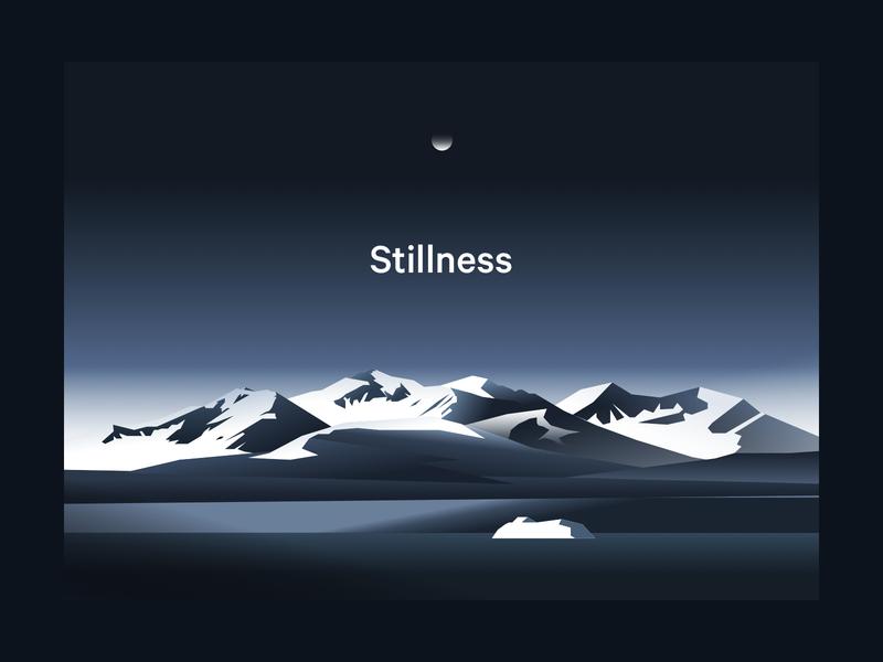 Stillness poster sketchapp landscape illustration mountain calm