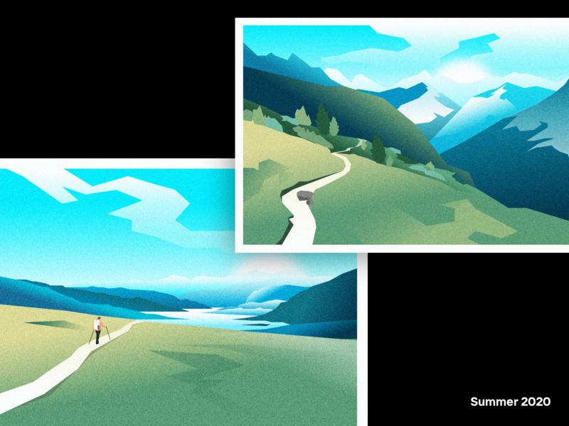 Made up postcard vector illustration hiking lake forest trail mountains quarantine landscape