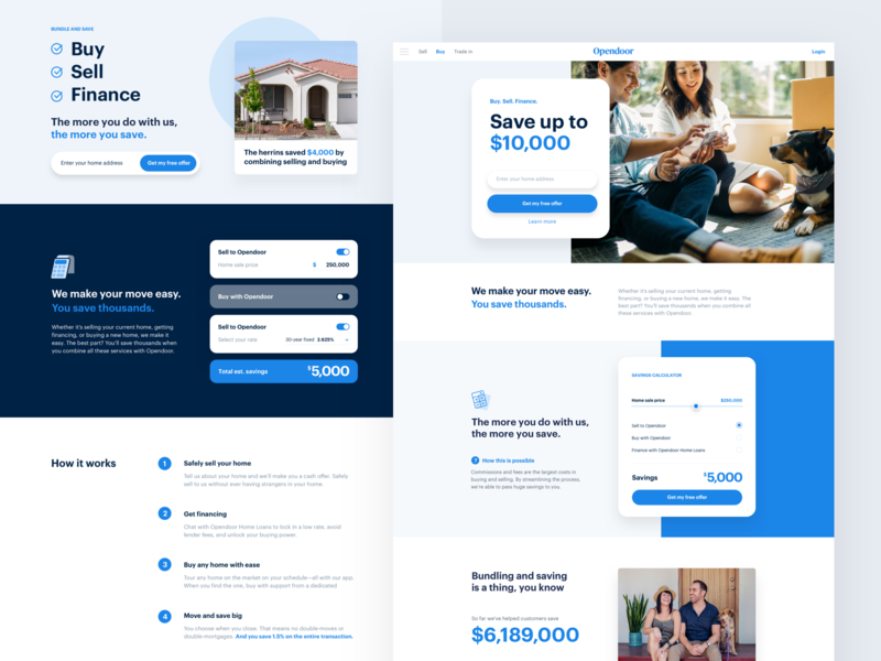 Savings calculator layout product design brand marketing landing page web
