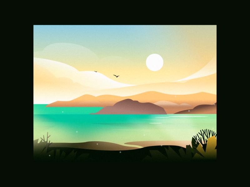 Wild bay area sunset coast sunset bay light evening vector nature illustration landscape