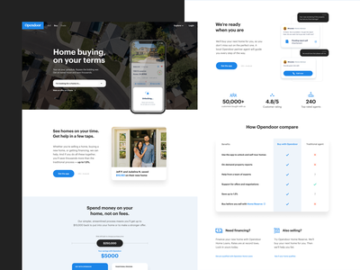 Buyer landing page ui chat compare table landing page product website web house home real estate app