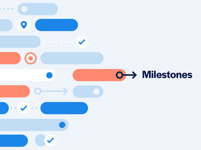 Milestones product illustration brand editorial goals timeline project management cover