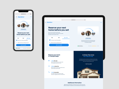 Mobile layout responsive homepage real estate move testimonial customer conversion hero ui layout