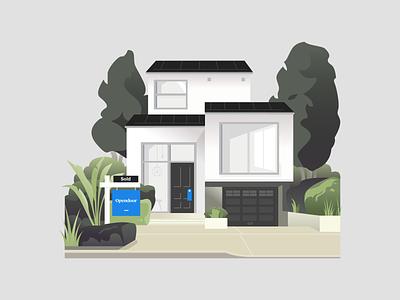 Sold sign cabin bungalow morden facade garden plant vector illustration curb realtor sold real estate home house