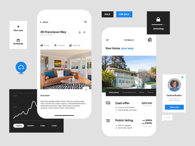 UI bits brand system components concept branding home house listing real estate product