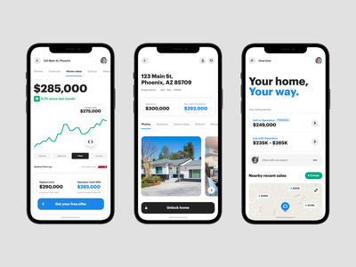 Product screens swipe card product app home house listing real estate ui