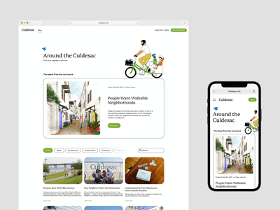 Culdesac blog page layout responsive illustrations brand layout feed blog web