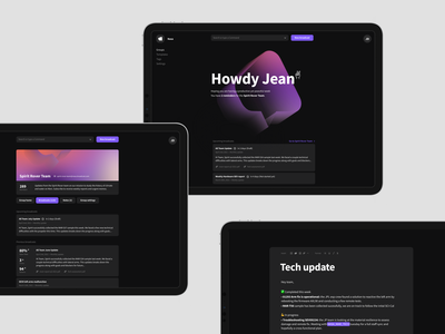 Broadcast UI moments welcome group messages dashboard feed web app productivity product ui layout