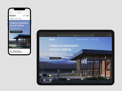 Realkit landing page web responsive ui landing hero real estate webdesign layout