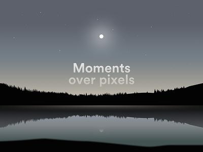 Moments over pixels mood moon night light lake nature illustration