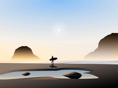 Life is a beach nature coast sunset surf beach illustration