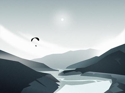 Outdoors lake mountain sky landscape figma outdoors nature illustration