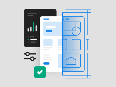 Quality and impact template icon illustration blueprint landing page system web spot