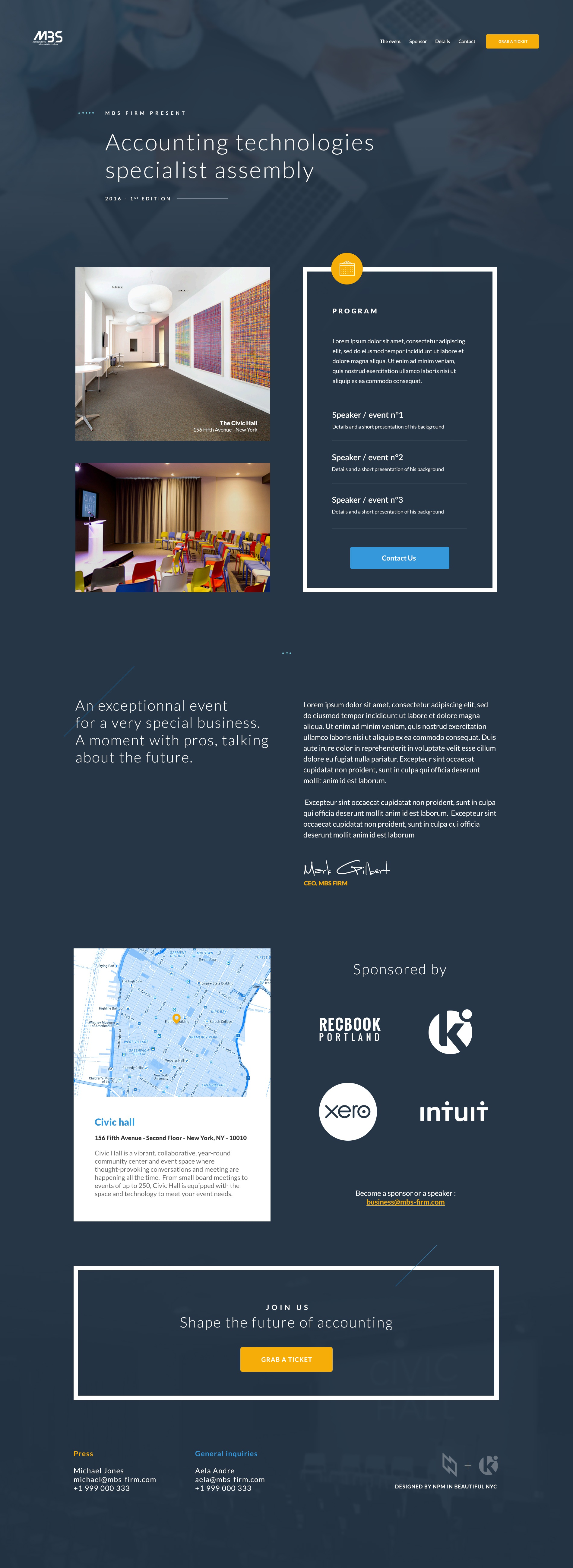 Landing page mbs event