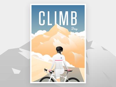Climb day poster climb mountain jersey bib rapha vintage poster bike cycling