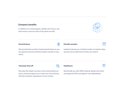 Benefits section geometric benefit job hiring work landing page web icon